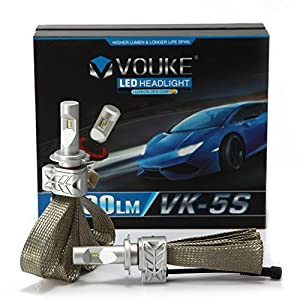 VK-5S H7 8000LM LED Headlight Conversion Kit, Low beam headlamp, Fog DRL Light, HID or Halogen Head light Replacement, 6500K Xenon White, 1 Pair