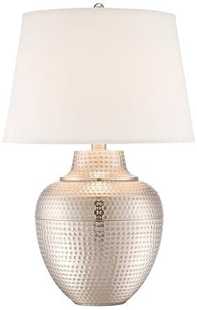 Brighton Hammered Pot Brushed Nickel Table Lamp Amazoncom