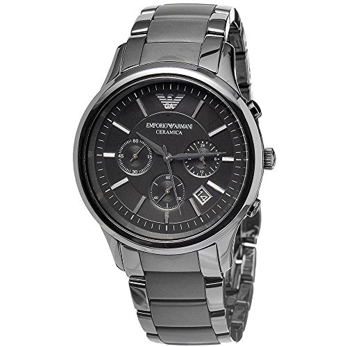 EMPORIO ARMANI AR1452 MEN'S QUARTZ BLACK DIAL CERAMIC MATTE CHRONOGRAPH WATCH