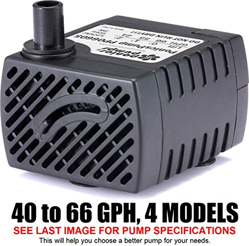 PonicsPump PP06605: 66 GPH Submersible Pump with 5 Cord - 3W... for Quality Indoor/Outdoor/Table-Top Fountain Pump for Fountains, Statuary, Aquariums & more. Comes with 1 year limited warranty.