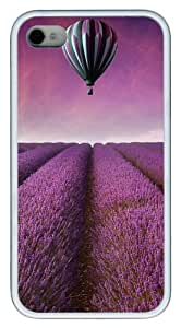 iPhone 4S Cases Purple Flower Field Hot Air Balloon TPU Soft Back Case Cover for iPhone 4S and iPhone 4 - White