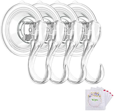 VIS'V Suction Cup Hooks, Small Clear Reusable Heavy Duty Vacuum Suction Cup Hooks with Cleaning Cloth Strong Window Glass Kitchen Bathroom Hooks for Towel Robe Utensils Christmas Wreath – 4 Packs