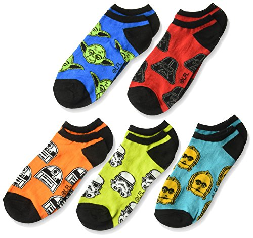 Disney Boys' Star Wars 5 Pack No Show Socks ,assorted bright color, Sock Size 9-11; Shoe Size 4-9