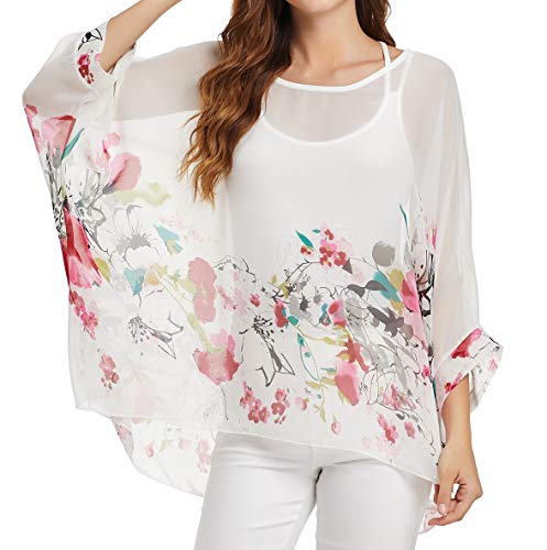 (Women's Loose Batwing Sleeve Blouse Chiffon Top Floral Printed Poncho Tunic Caftan Cover)