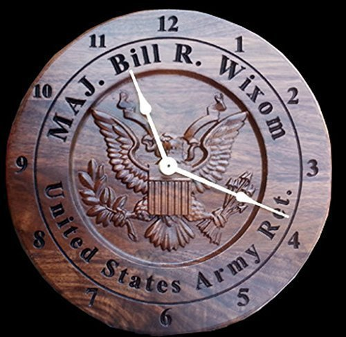 Personalized Army Veteran Wall Clock Engraved Retirement Gift Carved Wood