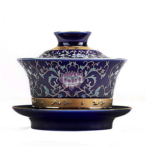 LIZONGFQ Ceramic Enamel Silver Bowl Sterling Cover Bowl Tea Cup Large Handmade Tea Set 3 Piece Gift - Sterling Tea Saucer