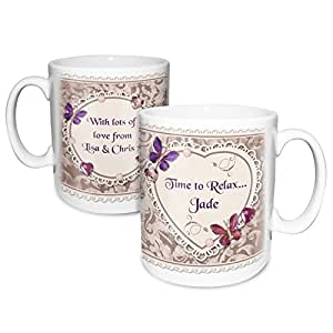 Butterfly Gem Mug. This is a great product that can be personalised to your requirements ( please see main discription for full details ) Ideal gifts and presents for weddings, Christenings, Birthdays, Christmas etc…