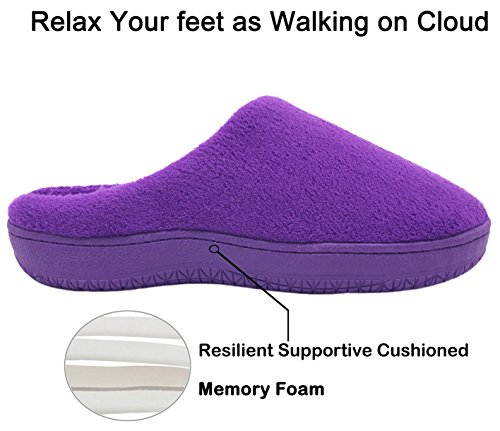 Foam Soft Coral Indoor Purple Memory Womens Slippers Outdoor House Shoes Fleece Mens Finoceans 64SWw