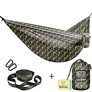 Wise Owl Outfitters Hammocks for Camping Single & Double Hammock Bundle With Straps Included - Top Rated Gear For Backpacking Survival or Travel - Portable Lightweight Parachute Nylon DO