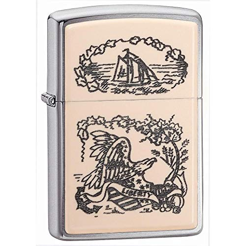 - Zippo Ivory Scrimshaw Liberty Eagle Chrome Pocket Lighter