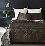 Drefeel Luxury Quality Super Soft Quilted Bedspread Set 3 Pieces King Size 90 by 104 Inches - Hypoallergenic Silk Coverlet - Solid Comforter All Season,Black