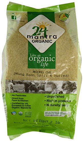 Organic Moong Dal - ★ USDA Certified Organic - ★ European Union Certified Organic - ★ Pesticides Free - ★ Adulteration Free - ★ Sodium Free - 2 Lbs - 24 Mantra Organic by 24 Letter Mantra