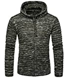 Spirio Mens Drawstring Zip-Up Knitted Warm Hooded Sweater Cardigan Army Green L