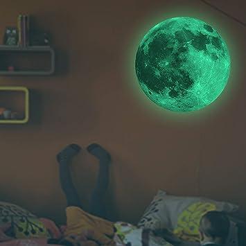 Incroyable DIoFent Lueur Dans La Nuit Sombre 30cm Lune Night Light Stickers Muraux  Lumineux Vert Light