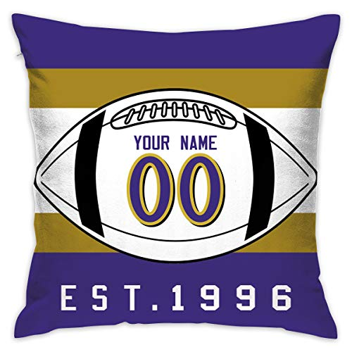 JHBFJHKP-Y Baltimore Ravens Pattern Cushion Covers Decorative Throw Pillows for Sofa 20x20 Inches Pillow Case