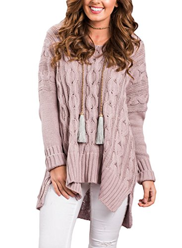 Sidefeel Women Casual V Neck Loose Fit Knit Sweater Pullover Top Medium Pink
