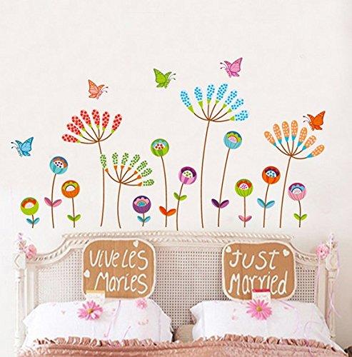 BINGNENG Waterproof Lovely Flower Wall Stickers for Kids Girls Bedroom Livingroom Decor