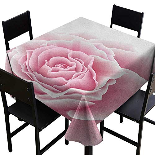 SKDSArts Thanksgiving Tablecloth Light Pink,Romantic Rose Petals Beauty Bouquet Celebration Bridal Romance Wedding, Pale Pink White,W54 x L54 Square Tablecloth