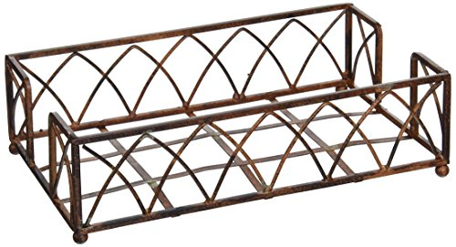 - Boston International BID59 Arch Design Guest Towel Napkin Holder Caddy, 9 x 5.25-Inches, Aged Chestnut
