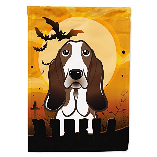 Caroline's Treasures BB1801GF Halloween Basset Hound Garden Size Flag, Small, Multicolor]()