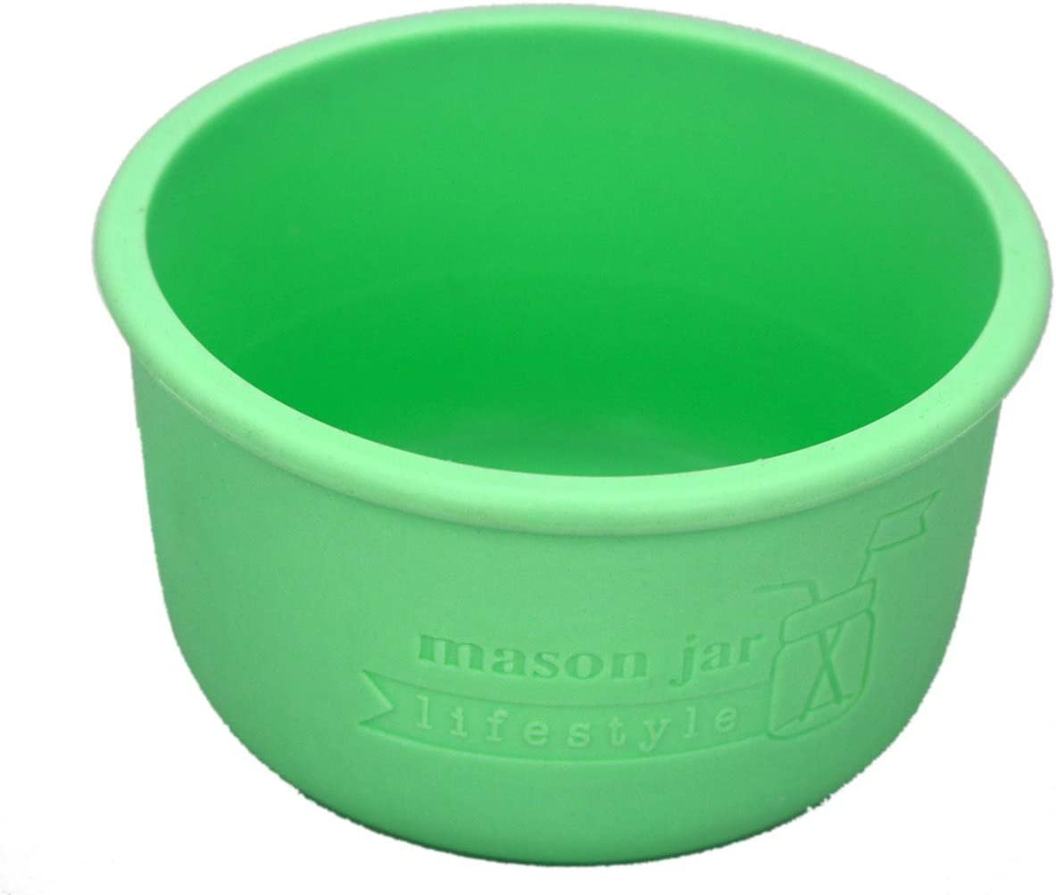 4oz Silicone Sleeves/Jackets for Protecting Small Ball, Kerr, Quilted Canning Jars by Mason Jar Lifestyle (Mint Green, 2 Pack)