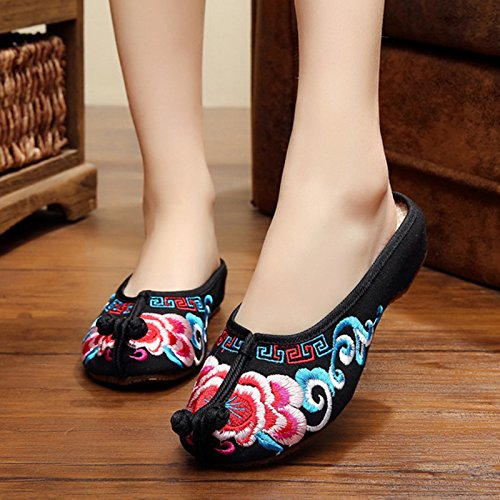 NGRDX&G Mujer Bordadas Zapatillas Casual Sexy Negro Zapatillas Sandalias Zapatos De Mujer Fashion Diapositiva Clouds flower black