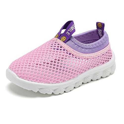 CIOR Kids Light Weight Sneakers AquaShoes Breathable Slip-on For Running Pool Beach Toddler/Little Kid,S633Pink,22