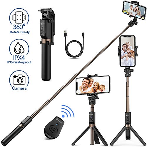 Humixx Selfie Stick, Buletooth 4-in-1 Extendable Selfie Stick Tripod 360° Rotation, Rechargeable Wireless Remote Shutter Compatible with iPhone XR/XS Max, Samsung S10+, Huawei P30, Go Pro and Cameras