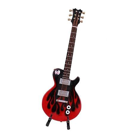 MagiDeal Guitarra Eléctrica de Madera Para Muñecas de Juguete Accesorio de Decoración - Negro rojo,