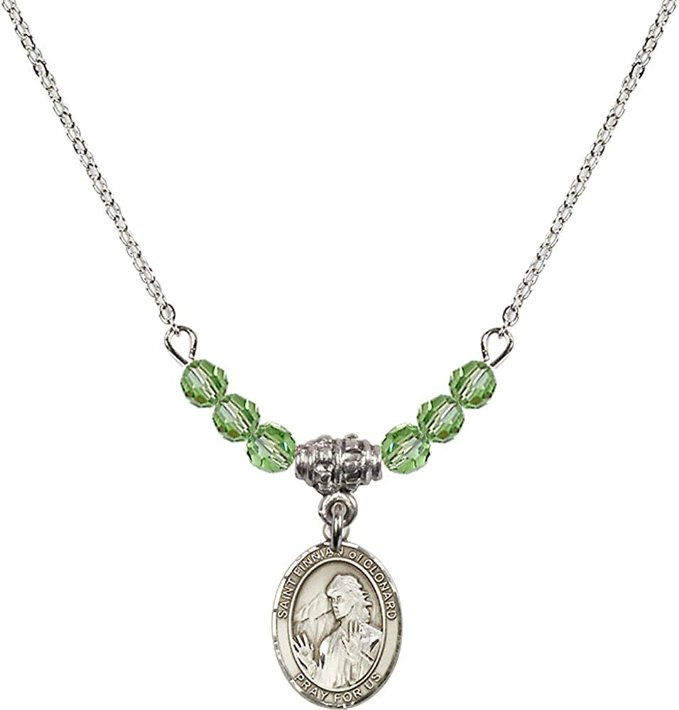 18-Inch Rhodium Plated Necklace with 4mm Peridot Birthstone Beads and Sterling Silver Saint Finnian of Clonard Charm.