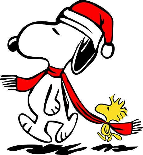 Peanuts Linus Scarf - Apollo's Products Snoopy Winter/Holiday with Woodstock in Stocking Cap and Red Scarf - Custom Made to Order 14 X 16 Inches