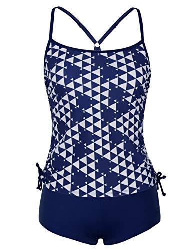 (ninovino Women's Plus Size Swimwear Geo Printed Racerback Tankini with Boyshort Navy-XL)