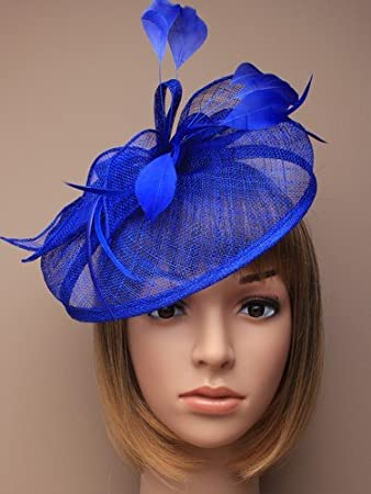 Mxoza - Sinamay Fascinator Hat Feather Wedding Fascinator Hair Headdress  Navy Blue Red Black Beige  3f1a70b9d09