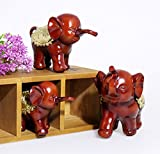 Adorable Retro Vintage Distressed Resin Elephant Design Decorative Sculpture Display with Rubies, Brown, A set of 3 in different sizes