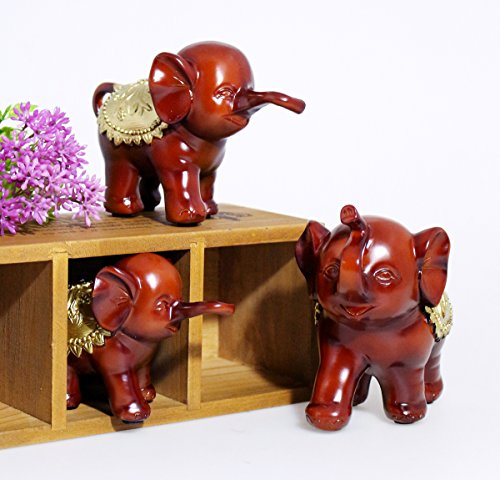 Ruby Elephant - Retro Vintage Resin Set of 3 Brown Mother Kids Elephants Animal Collectible Figurine Statue Art Adorned with Ruby, Display Decoration for Living Room Bedroom Office, 3 Different Sizes
