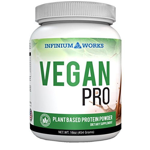 Vegan Pro – Plant Based Protein Powder| with Organic Hemp, All- Natural Sources of Omega's (Chocolate) 1lb (Non-Soy) by Infinium Works For Sale