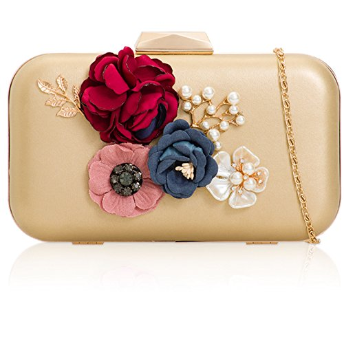 Prom Strap Xardi Designer Handheld Bag For Chain Gold Floral Clutch Ladies Shimmer 3D Broach Golden Women PU and Leather 1 London Style for Pearl Evening Bridal Parties Weddings Leaf HwrO4HRq