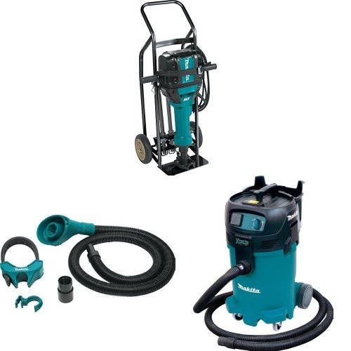 Makita HM1812X3 70 lb. Advanced AVT Breaker Hammer w/ 4-Pc. Steel Set and Premium Hammer Cart, 197172-1 Dust Extraction Attachment, VC4710 12-Gal Xtract Vac Wet/Dry Dust Extractor/Vacuum