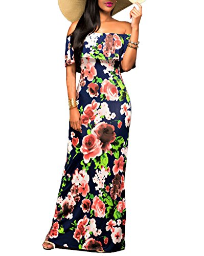 Suimiki Vintage Ruffle Plain Floral Printed Off Shoulder Bodycon Long Party Maxi Dress Navy B - Printed Dress Check