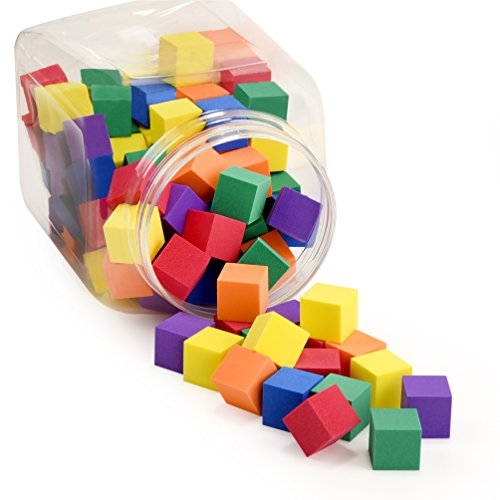 Foam Counting Color Cubes for Kids - Size of 1 Inch - Set of 120 Pieces - Made in Taiwan from Highest Quality Foam - Soft Stacking Toy Blocks for Math and Schools, by Premium Joy (School Blocks)