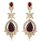 EVER FAITH Austrian Crystal CZ Teardrop Floral Leaf Dangle Earrings Red Gold-Tone