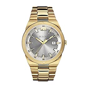 Bulova Men's 97B137 Classic Analog Display Japanese Quartz Yellow Watch