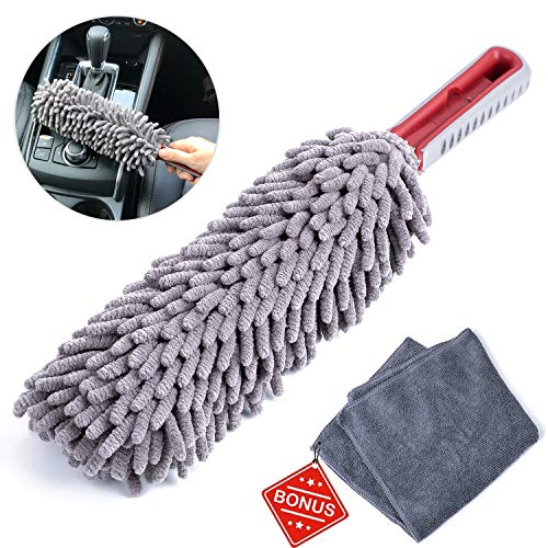 Interior Car Detail Duster - Free Microfiber Towel - 360° Microfiber Fingers - Lint Free - Unbreakable Comfort Handle - Car and Home Interior Use - The Best Multipurpose Car Duster