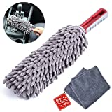 Interior Car Detail Duster - Free Microfiber Towel - 360° Microfiber Fingers - Lint Free - Unbreakable Comfort Handle - Car and Home Interior Use - The Best Auto Accessories