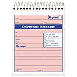 Tops 4010 Important Message Pad, 4-1/4''x6, 50 Sets, PK/CY Paper