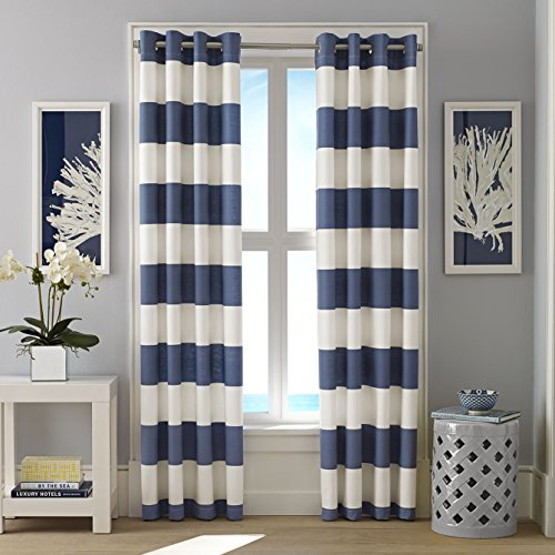 Nautica Cabana Stripe Drape Set, Cadet Blue - Jennifer Curtain Panel Set