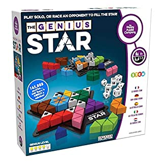 The Genius Star - Toy of The Year Award Winning Family Board Game. 165,888 Possible Puzzles by Filling in Colored Shapes with Blockers to Complete A Star! Golden Star Twist!