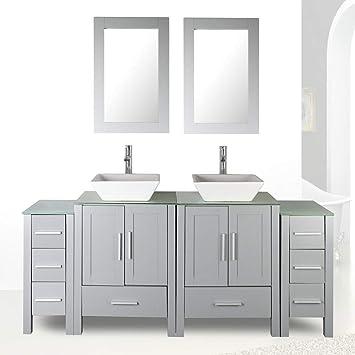 72 Double Sink Grey Bathroom Vanity Modern Design Glass Top W Mirror Faucet Drain Amazon Com