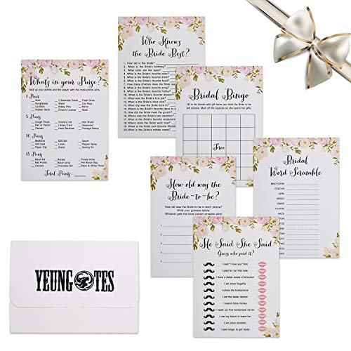 Flower Bridal Shower Games, 6 Design 30 Each Sheet Wedding Shower Games Cards Include Bridal Shower Bingo- He said, She Said and Also Perfect to Suit Guest's Rose Bridal Shower Games Pack