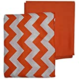 BabyDoll Chevron and Solid Crib Sheets, Orange